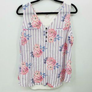 Candie's Floral Striped Top Size XXL V-Neck